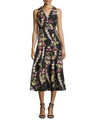 Tamera Sleeveless Floral-Embroidered Dress, Multi Colors