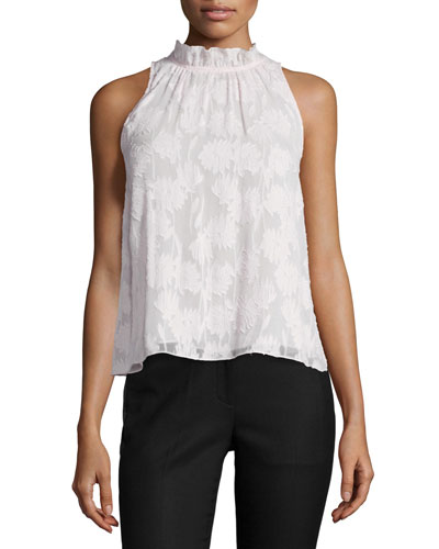 Daisy Silk-Blend Burnout Top, Pink