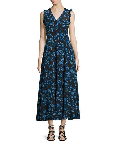 Kyoto Sleeveless Floral Silk Midi Dress, Black