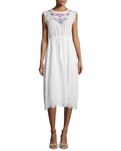 Sleeveless Garden-Embroidered Midi Dress, Snow