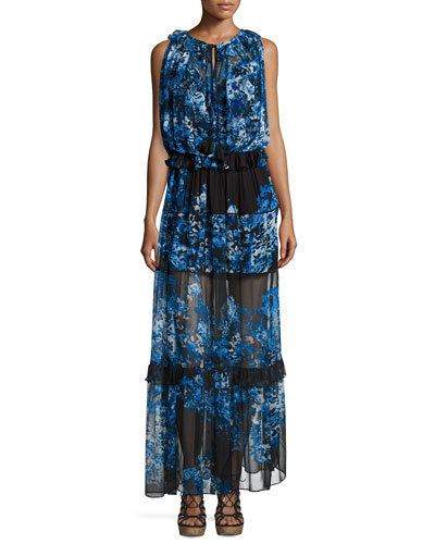 Serena Sleeveless Tiered Maxi Dress, Shadow