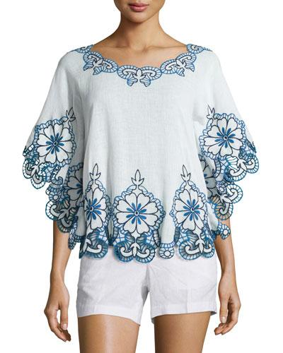 Ellis Half-Sleeve Embroidered Top, White