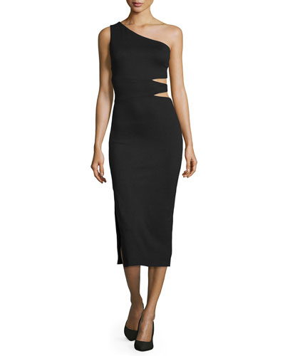 Margo One-Shoulder Midi Dress, Black