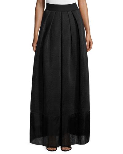 High-Waist Pleated-Front Full Skirt, Black
