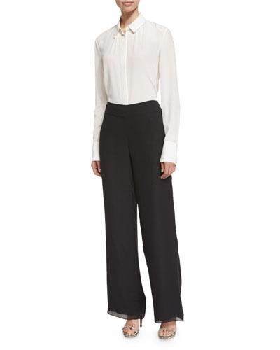 Wide-Leg Dress Pants, Black