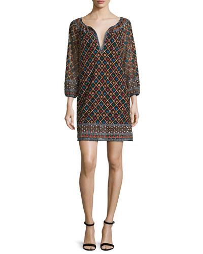 Gillian 3/4-Sleeve Embroidered Mini Dress, Multicolor