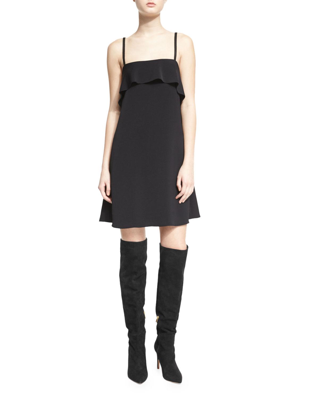 Etta Sleeveless Chiffon Ruffle Slip Dress, Black