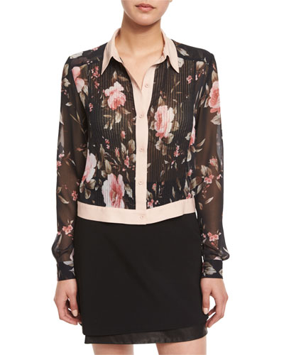 Amalia Floral-Print Long-Sleeve Cropped Blouse, Multi Colors