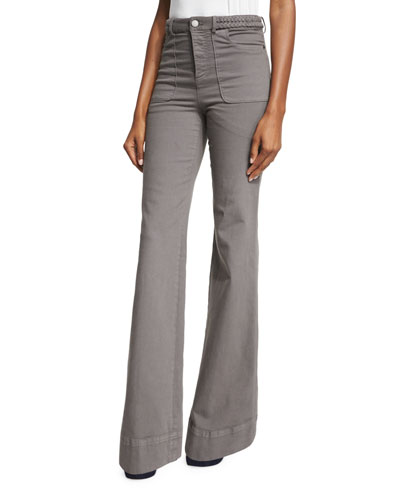 Juno Braided-Waist Wide-Leg Pants, Charcoal