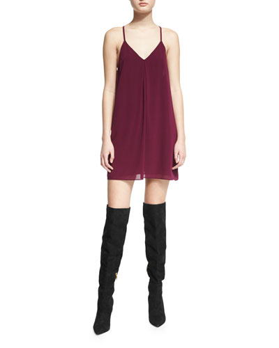 Fierra Chiffon Racerback Mini Dress, Plum