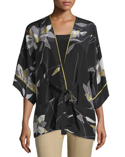 Short-Sleeve Belted Kimono Top