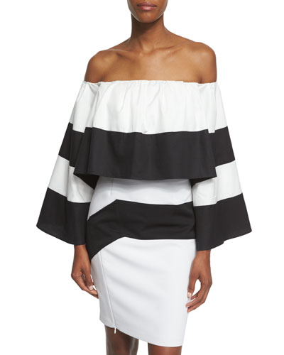 Off-The-Shoulder Striped Crop Top, Black/White