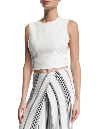 Pierced Open-Side Crop Top, Bright White
