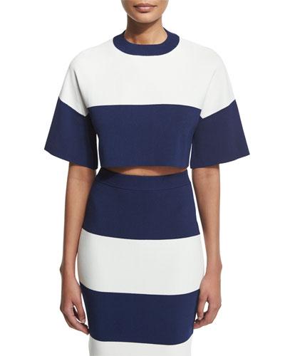 Short-Sleeve Wide-Striped Crop Top