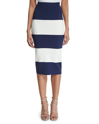 High-Waist Wide-Striped Pencil Skirt