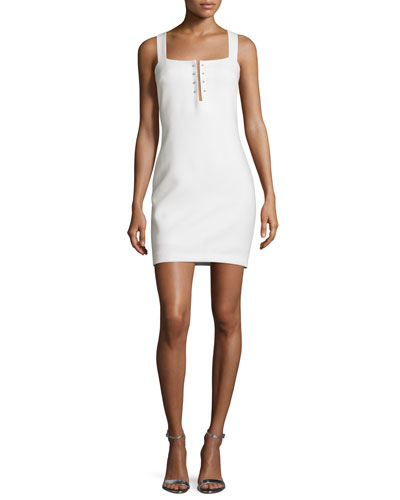 Pierced Sleeveless Sheath Dress, Bright White