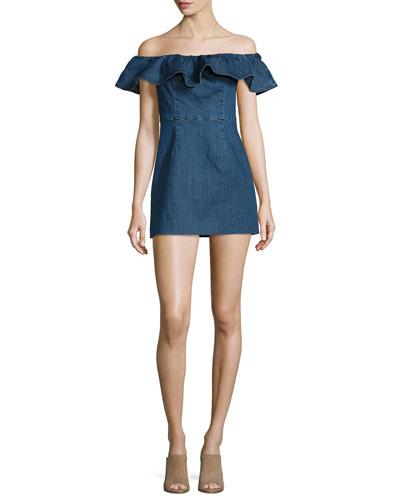 Off-the-Shoulder Ruffle Mini Dress, Dark Rinse
