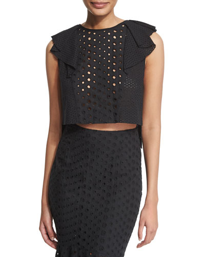 Ruffle-Trim Eyelet Crop Top, Black