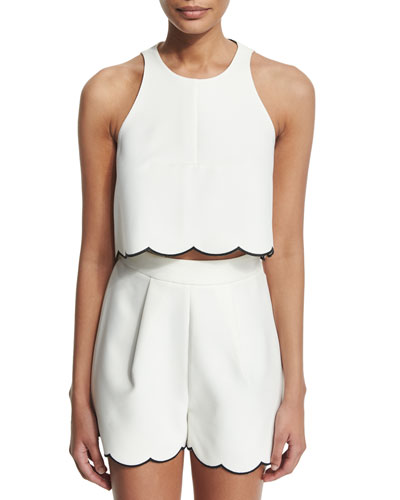 Sleeveless Scallop-Hem Crop Top, Bright White/Black