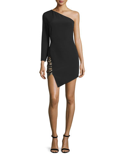 Alessandra One-Shoulder Cocktail Dress, Black