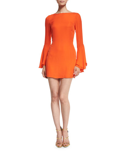 Alisa Bell-Sleeve Cocktail Dress, Persimmon Red
