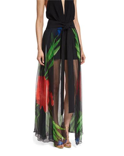Gwen Floral Chiffon Wrap Skirt, Black