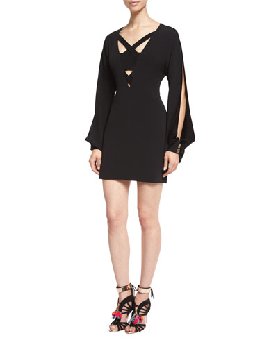 Bryony Suede-Inset Open-Sleeve Dress, Black