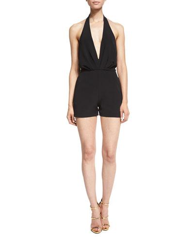 Dephine Halter V-Neck Short Jumpsuit, Black