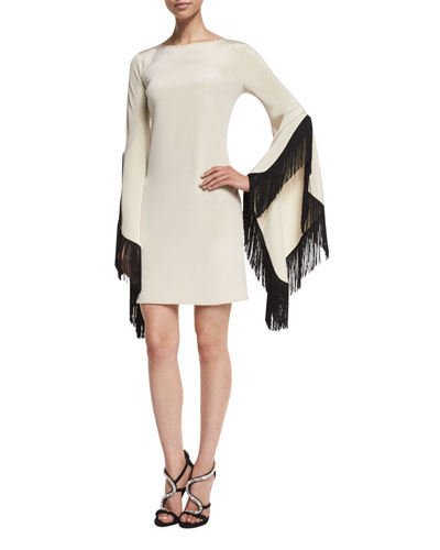 Molly Long-Sleeve Fringe-Trim Dress, Ivory/Black