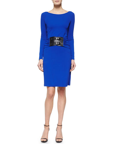 Drop-Waist Croc-Embossed Belted Dress