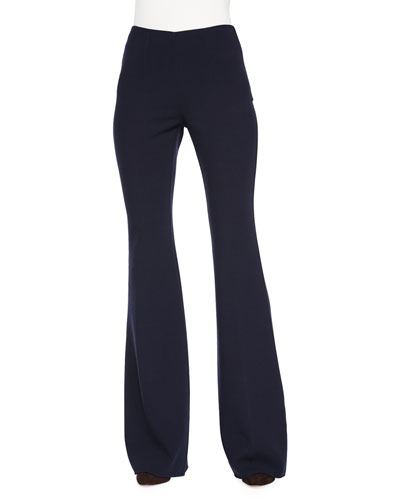 High-Waist Flared Wool Pants, Navy