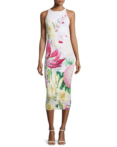 Julee Floral-Print Midi Dress, Nude Pink