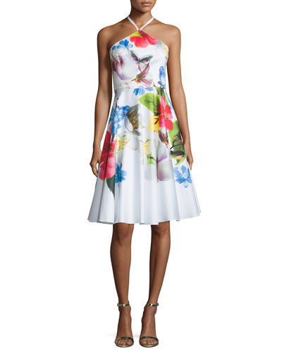 Corpina Floral Sleeveless Halter Dress, White