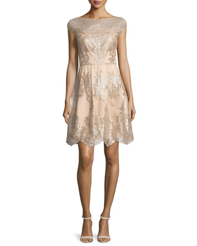 Cap-Sleeve Metallic Lace Fit-and-Flare Dress, Mocha