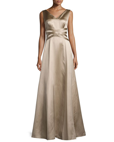 Sleeveless V-Neck Satin Gown, Mocha