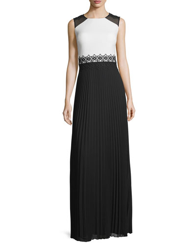 Sleeveless Crepe & Pleated Chiffon Gown, Black/White