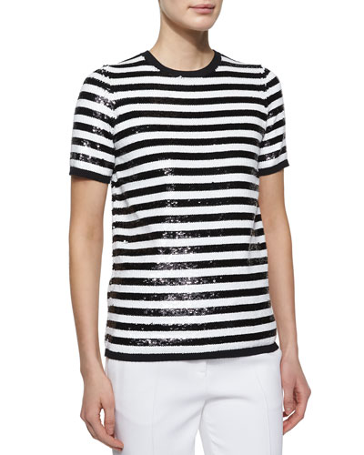 Allover Sequin Striped Tee