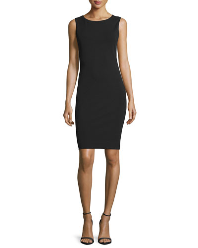 Sleeveless Cowl-Back Sheath Dress, Black