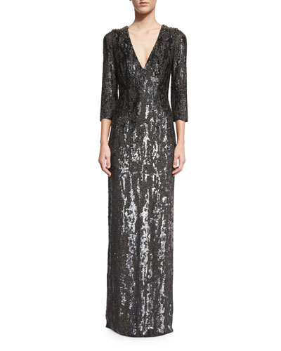 3/4-Sleeve Burnout Sequined Gown, Black