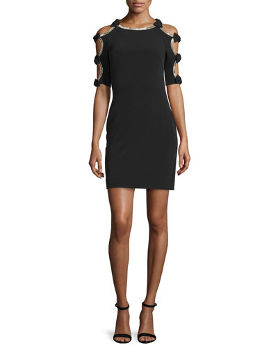 Bow-Sleeve Sheath Cocktail Dress, Black