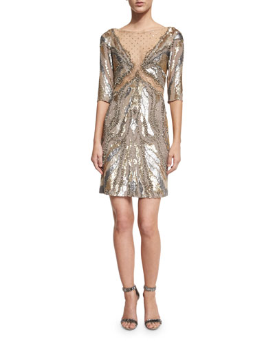 Half-Sleeve Embellished Sheath Dress, Dawn Gold
