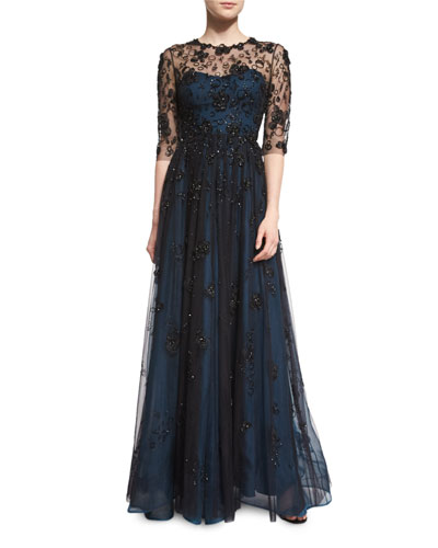 Half-Sleeve Embellished Gown, Black Abusson Blue
