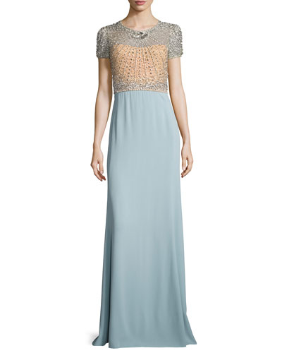 Crystal-Bodice Short-Sleeve Gown, Illusion/Stormy Blue