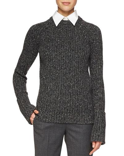 Merino/Cashmere Ribbed Crewneck Sweater, Charcoal Melange