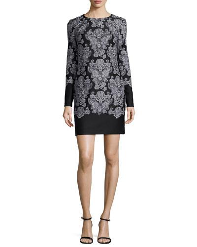 Long-Sleeve Lace-Print Sheath Dress