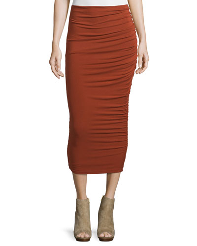 Mindie Ruched Jersey Midi Skirt