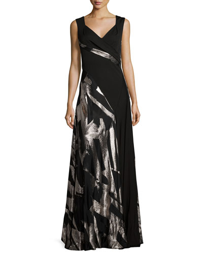 Abstract-Print Sleeveless Gown, Black/Metallic