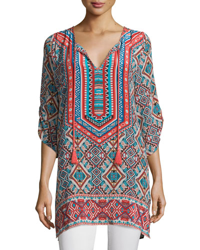 Reese Printed Long Tunic, Pearl, Plus Size