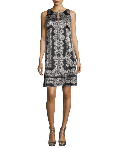 Sleeveless Silk Lace-Print Mini Dress, Black/White