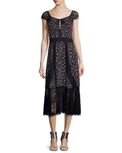 Cap-Sleeve Floral Silk & Lace Midi Dress, Black